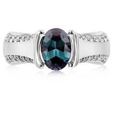 Modern Juicy Liqueur Engagement Ring With Oval Alexandrite - top view