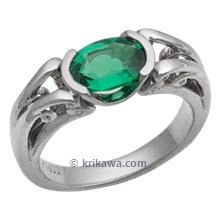 Carved Curls Engagement Ring with Oval Emerald