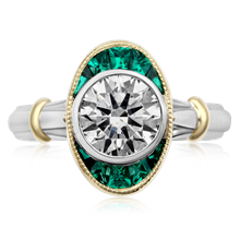 Art Deco Halo Engagement Ring - top view