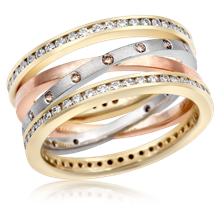 Layered Crossover Diamond Band - top view
