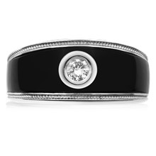 Black Onyx Diamond Men's Ring - top view