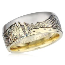 Two Tone Mountain Wedding Band