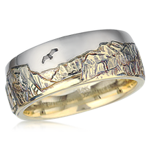Two Tone Mountain Wedding Band - top view
