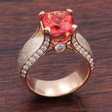 Juicy Light Engagement Ring With Padparadscha Sapphire