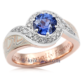Pave Swirl Mokume Engagement Ring With Sapphire