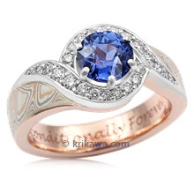 Pave Swirl Mokume Engagement Ring With Color-Change Sapphire