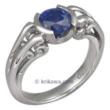 Carved Curls Engagement Ring with Blue Sapphire and Engraving