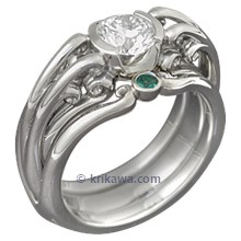 Carved Curls Engagement Ring with Emerald Accents