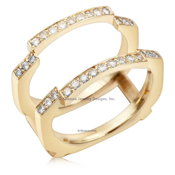 Hand Cut Pave Diamond Enhancer In 14K Yellow Gold