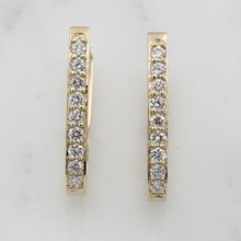 Perfect Diamond Hoop Earrings In 14K Yellow Gold - top view