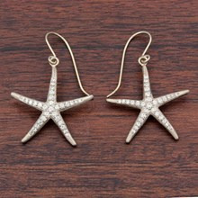 Pave Starfish Earrings - top view