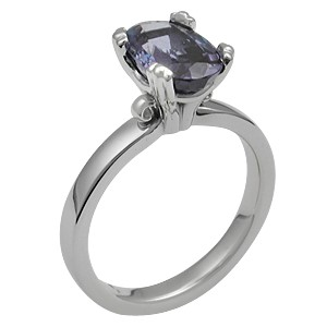 Carved Leaf Engagement Ring with a Purple Sapphire