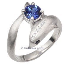 Dolphin Engagement Ring With Blue Sapphire