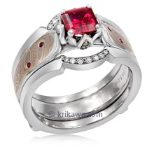 Mokume Rose Petal Engagement Ring With Fairy Tale Enhancer