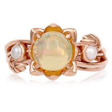 Lotus Bud Engagement Ring - top view