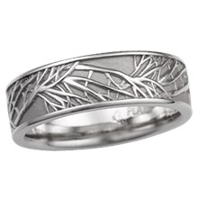 14k white gold tree of life wedding band 7mm