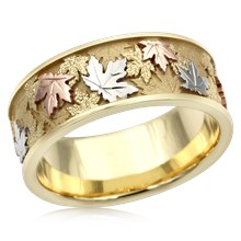 Tricolor Maple Leaf Wedding Band