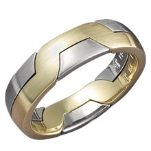 modern puzzle ring in yellow gold and platinum - Puzzle Wedding Rings