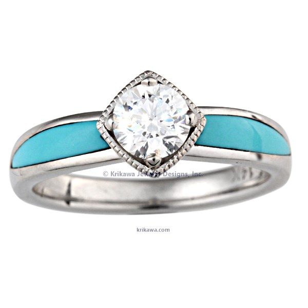 Turquoise Flair Engagement Ring In White Gold