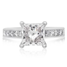 Classy Princess Cathedral Engagement Ring - top view