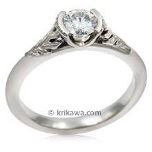 Oak Leaf Cathedral Engagement Ring In White Gold