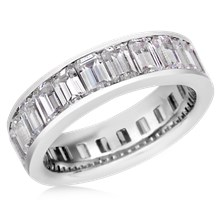 Emerald Diamond Eternity Band - top view