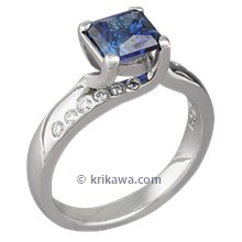 Carved Vine Engagement Ring with Blue Sapphire