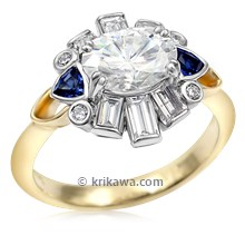 Art Deco Baguette Halo Engagement Ring