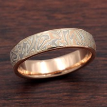 5mm Champagne Mokume and Rose Gold Wedding Band
