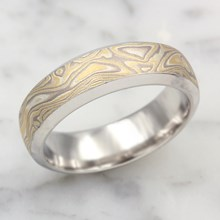 Old Summer Mokume Beveled Wedding Band