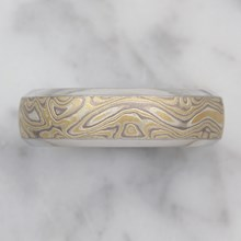 Old Summer Mokume Beveled Wedding Band - top view