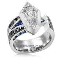 Luxury Shield Mokume Engagement Ring