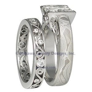 Mokume Curls Engagement Ring Bridal Set