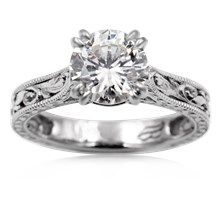 Delicate Vintage Solitaire Engagement Ring - top view