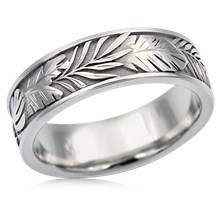 Tropical Leaf Wedding Band