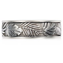 Tropical Leaf Wedding Band - top view