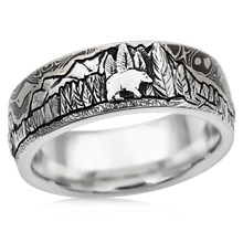 Mountain Bear Buffalo Wedding Band