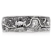 Mountain Bear Buffalo Wedding Band - top view