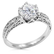 Old World Solitaire Engagement Ring