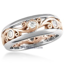Carved Curls Diamond Wedding Band with Rails - 6mm