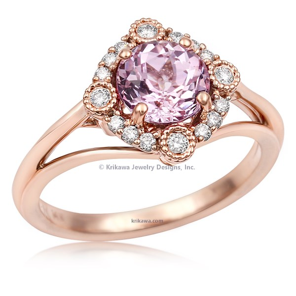 Vintage Scalloped Halo Engagement Ring In Rose Gold