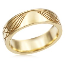 Sinusoidal Wave Wedding Band - top view