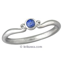 Carved Mini Curls Wedding Band with Blue Sapphire