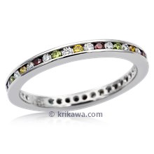 Diamond Channel Eternity Wedding Band With Colored Diamonds