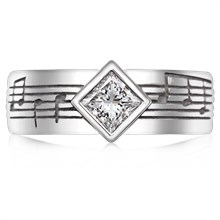 Musical Phrase Princess Engagement Ring - top view