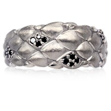 Diamond Dragon Scales Wedding Band - top view