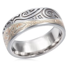 Tribal Mokume Wedding Band