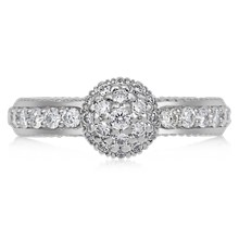 Vintage Cluster Engagement Ring - top view