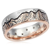 Starry Night Mountain Wedding Band