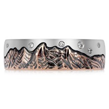 Starry Night Mountain Wedding Band - top view